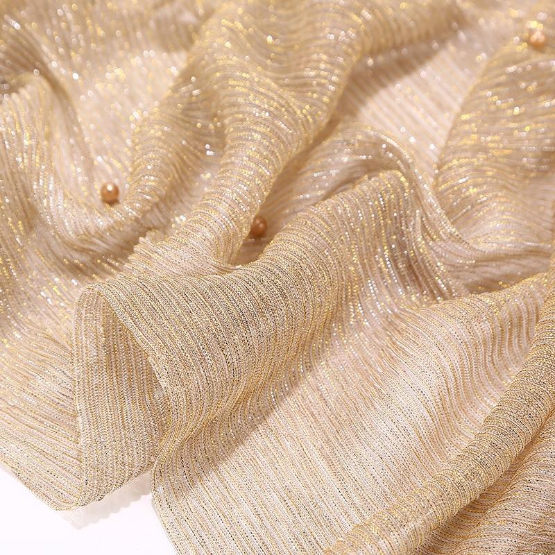 75x180cm Fashion Islamic turban Muslim Women Gold Wrinkles Shawl Hijabs Scarves Arabian Dubai hoofddoek tulband Headscarf