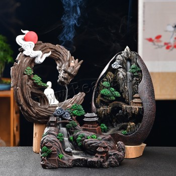 Smoke Waterfall Backflow Incense Burner Creative Home Decor Incense Holder Portable Resin Censer Mountain River Handicrafts backflow burner censer holder ceramic backflow waterfall smoke incense ornament home decor cones aroma spice 24 15 5 14 5cm