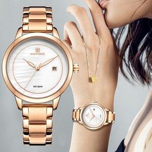 Image 2 - Naviforce relógio feminino, relógio de marca de luxo simples de quartzo, relógio de pulso à prova d água, moda feminina, relógios casuais, menina, relógio