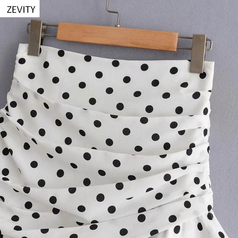 Polka Dot Print Pleated Asymmetrical Skirt 14
