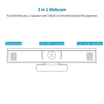 Webcam USB Web Camera Full HD 1080P 30FPS Webcam Web Cam with Microphone Clip-on 1/2.7 CMOS (Sony IMX307) PC Camera 120° Fov 2