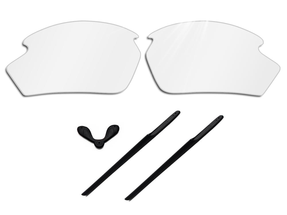 Glintbay 100% Precise-Fit Crystal Clear Replacement Lenses And Black Rubber Kit For Rudy Project Rydon Sunglasses