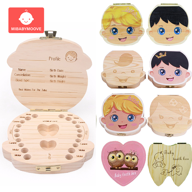 Wooden Baby Teeth Storage Box English/Spanish/French/Russian Milk Teeth Umbilical Lanugo Organizer Baby Souvenirs Gifts Keepsake
