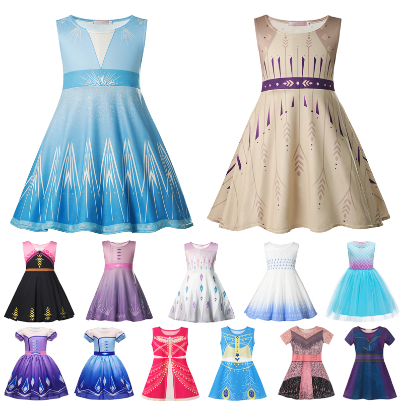 Vogueon bebê menina elsa vestido fantasia anna halloween festa de aniversário trajes cosplay crianças jasmine sereia vestidos meninas roupas