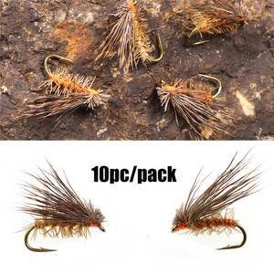 10PCS Deer Hair Dry Trout Fly Fly Fishing Lures Sea Bass Trout Fishing Fly Floating Bait(China)
