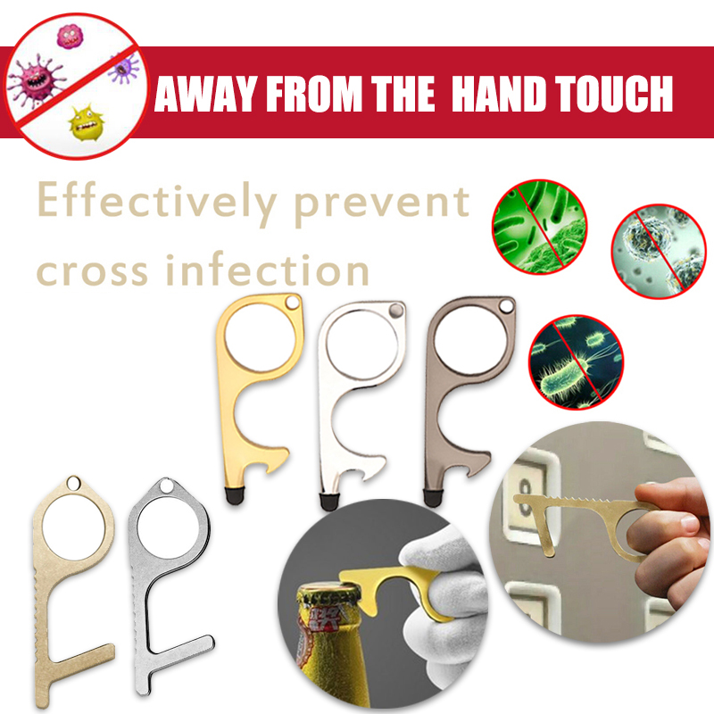 No Touch Brass Door Opener Portable Elevator Button Assistant Open Door The Smart Phone Safety Contactless Tool Anti Contact Key