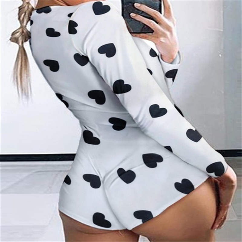 Autumn women''s soft and Comfortable Slim fit Jumpsuit Sexy V-neck printed long-sleeve T-shirt Female Short Jumpsuits Streetwear