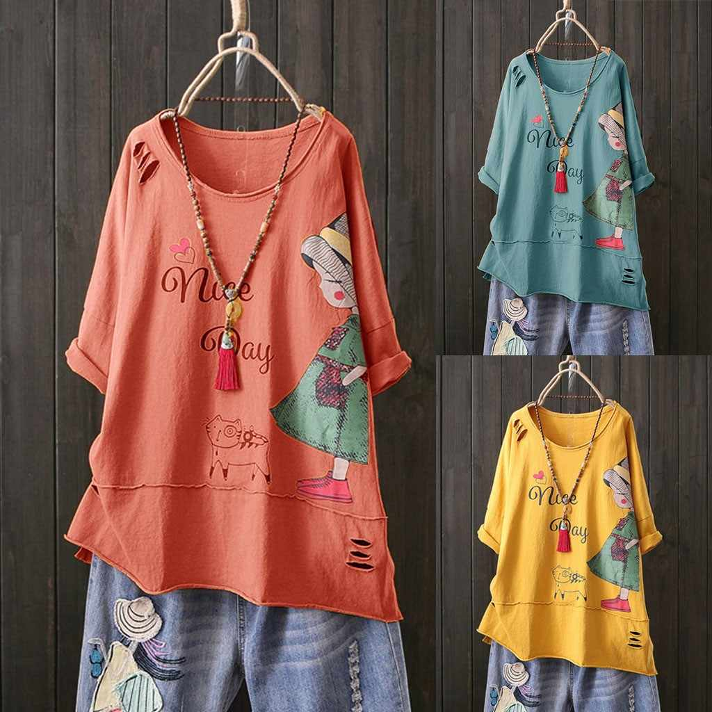 New Tshirt Women Fashion O-neck Short Sleeve Cartoon Print Cotton Linen Tops Poleras Camiseta Mujer Top Women Harajuku T Shirt