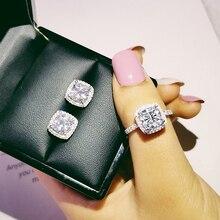 Твердая 925 пробы Серебряная Подушка с цирконием cz комплект ювелирных изделий обручальное кольцо серьги-гвоздики для свадьбы для женщин подарок J1099