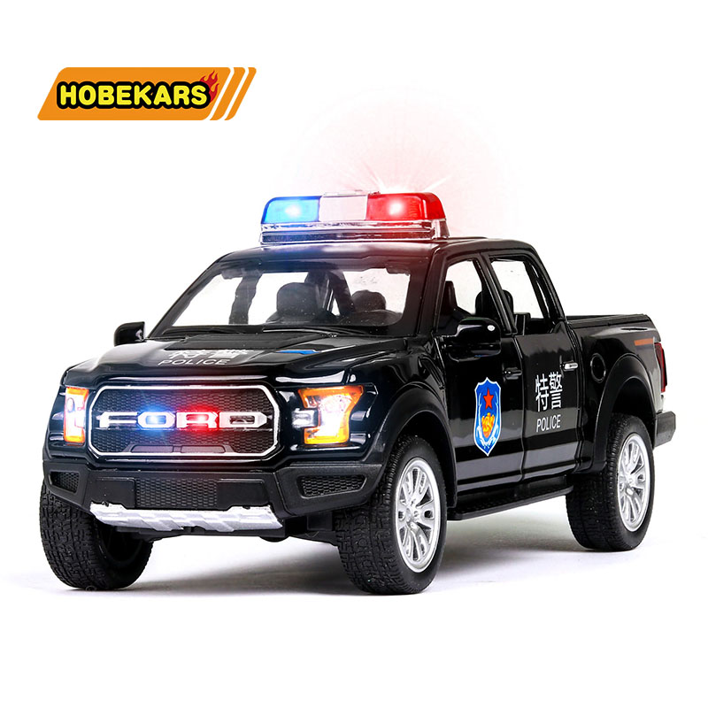 GFLD Pull Back Toy Simulation alloy car model sound and light pull back side door public security ambulance police car childrens toys