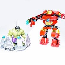 цена на 7110 Compatible With Marvel Super Heroes 76031 Avengers Building Blocks Ultron Figures Iron Man Hulk Buster Bricks Toys