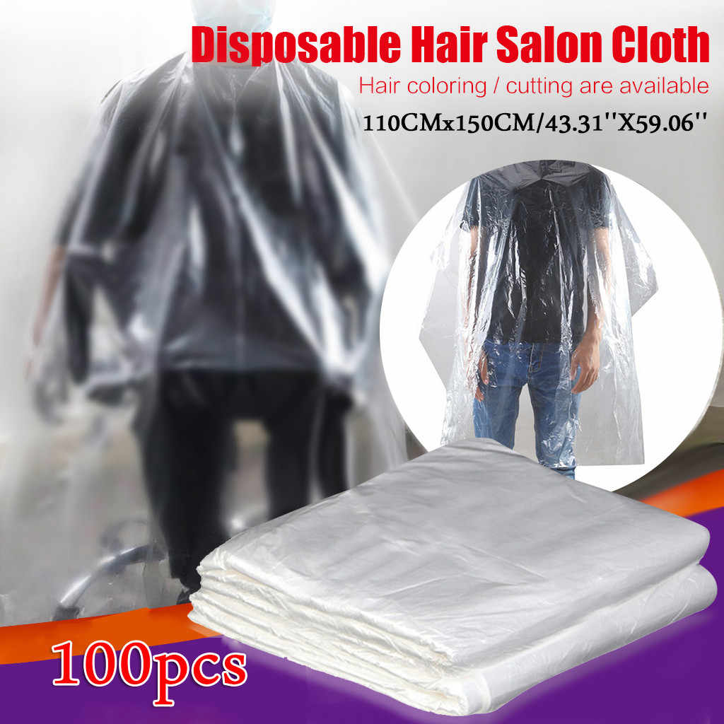 100pcs Apron Disposable Waterproof Hair Cape Hairdressing Cutting Hair Cloth Salon Barber Gown Cape Washing Pads Shampoo Capes
