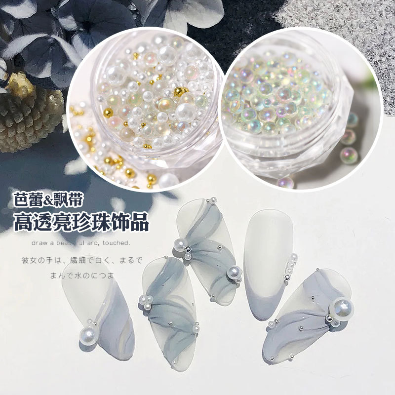 3D White AB Semicircle-Pearl Petal Flowers Arylic Bow Tie Nail Art Rhinestone Gems Decorations Manicure DIY Accessoires