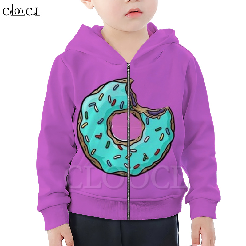 CLOOCL Cartoon Odd Future Donut Food Boy Girl Zipper Hoodie 3D Print Kids Hooded Family Fitted Clothing Casual Streetwear Tops