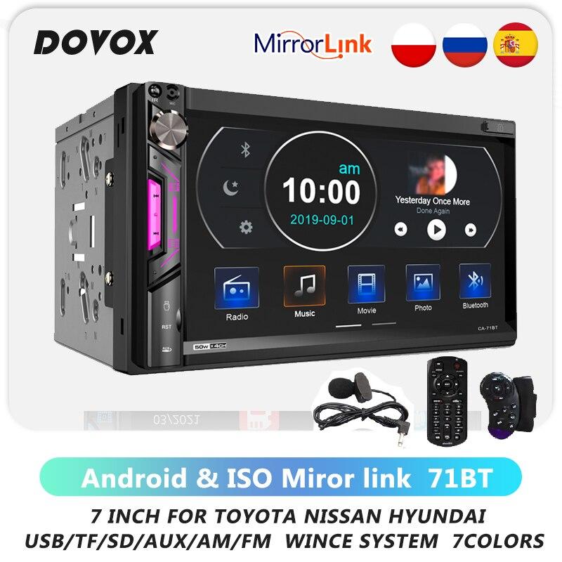 2din Carplay Radio Car Mp5 Player Bluetooth Mirror link Autoradio USB SD AM FM Audio 7