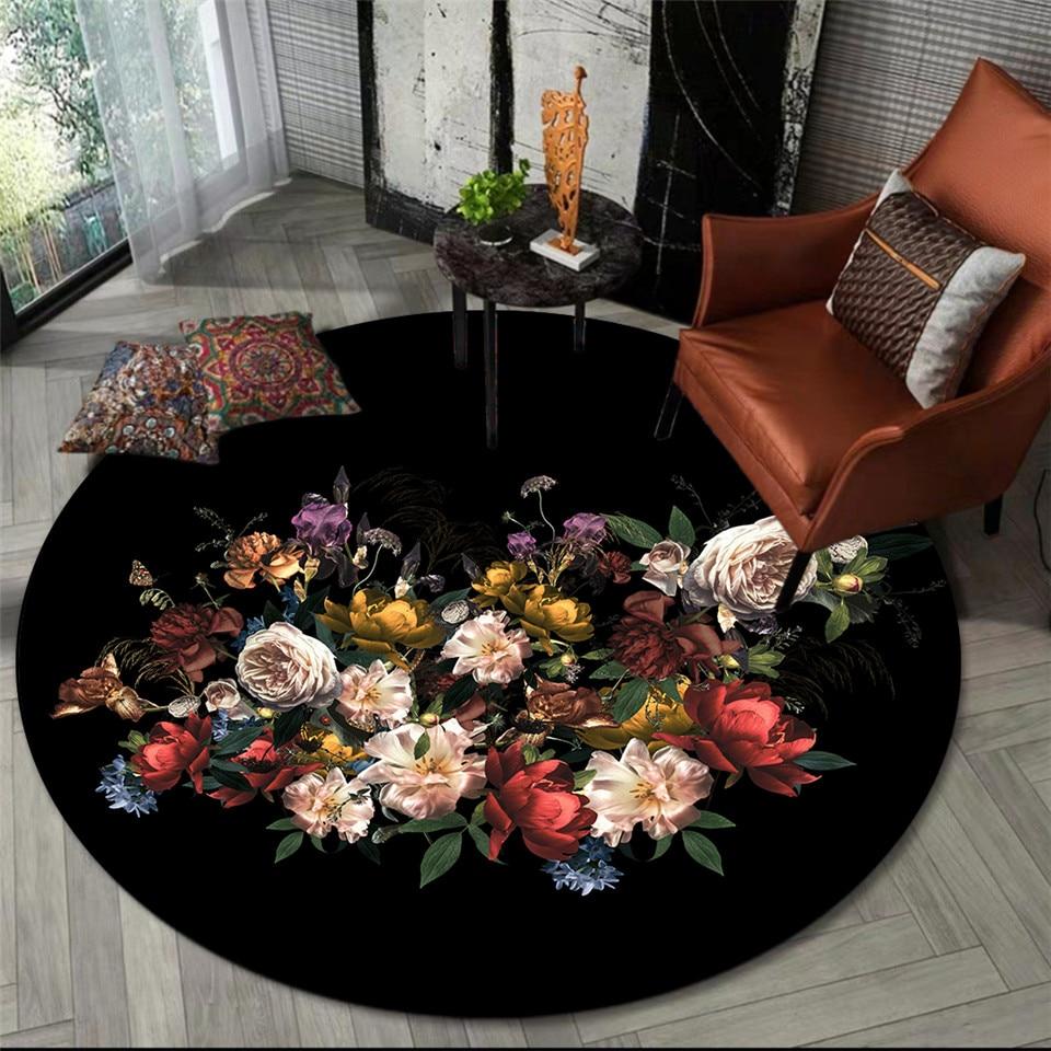 Alfombra de estilo europeo Retro negro Floral redonda para dormitorio, área, alfombra junto a la mesa de salón de café, alfombrilla para suelo y silla alfombra para los pies de la cama