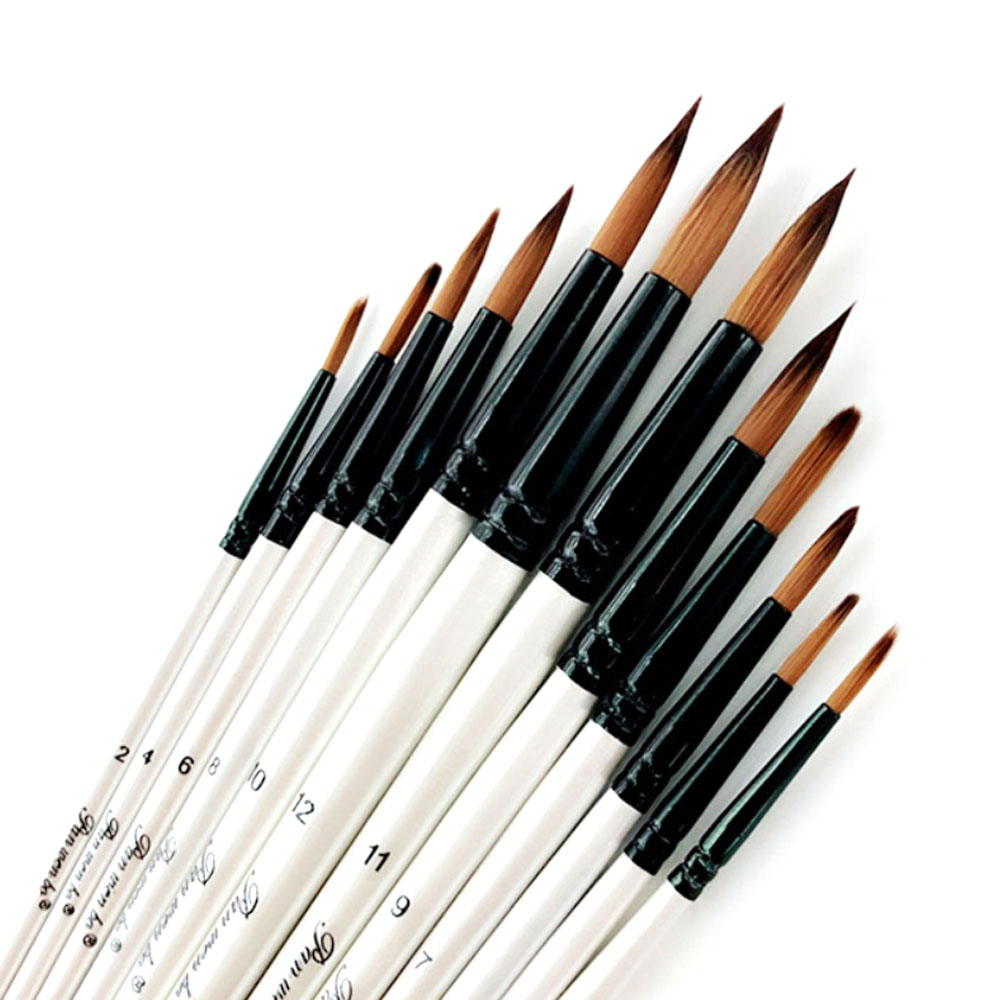 12 шт наконечник/плоские кисти для рисования набор кистей для рисования кисти художников набор акриловая акварель маслом краски ing Craft Art Kit