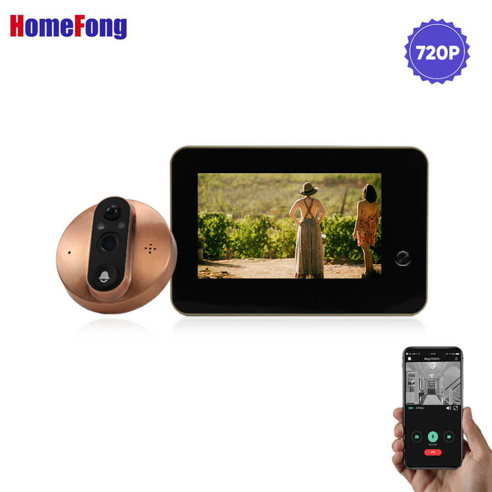 Homefong 4.3 بوصة Wifi الذكية ثقب الباب جرس باب يتضمن شاشة عرض فيديو LCD جرس الباب الرقمي عارض اللاسلكية الباب كاميرا دعم الهاتف سجل