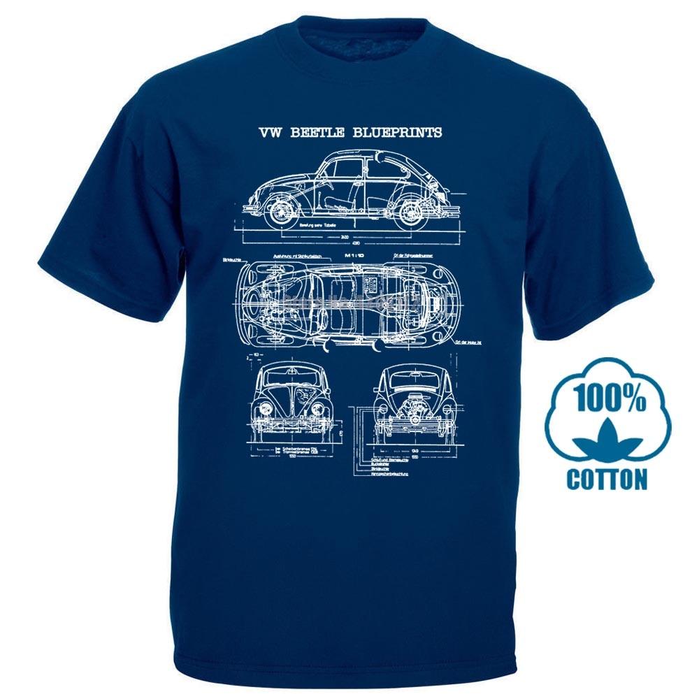 Beetle Bug Classic Blueprint T Shirt Print T Shirt Fashion Short Sleeve New Fashion Casual Cotton Short Sleeve