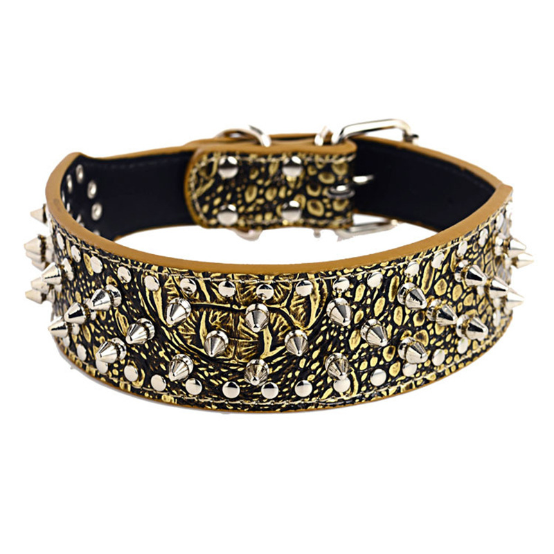 Big Dog Neck Ring Punk Style Men's Rivet Pet Collar Pu Dog Chain Double Layer Canvas Anti-Breaking Sell Through