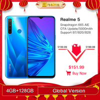 Global Version Realme 5 4GB RAM 128GB ROM 6.5 Moblie Phone Snapdragon 665 AIE Octa Core Cellphone 5000mAh Smartphone