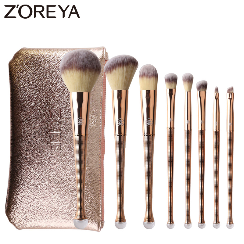 ZOREYA 8pcs Rose Gold <font><b>Mermaid</b></font> <font><b>Makeup</b></font> <font><b>Brushes</b></font> Powder Blending Eye Shadow <font><b>Brush</b></font> Set <font><b>with</b></font> Shiny Portable <font><b>Bag</b></font> image
