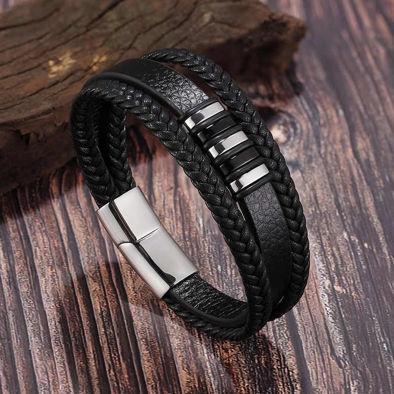 Модный браслет из нержавеющей стали, 3 слоя, черный, золотой, в стиле панк, мужской кожаный браслет из натуральной кожи, мужской многослойный Плетеный Браслет