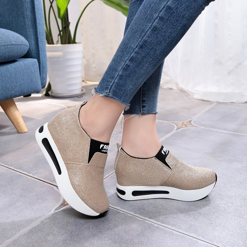 New Sneakers Women Shoes Woman Flat Platform Shoes Female Flats Shine Bling Causal Shoes Loafers Plus Size Slip On Ladies Shoes