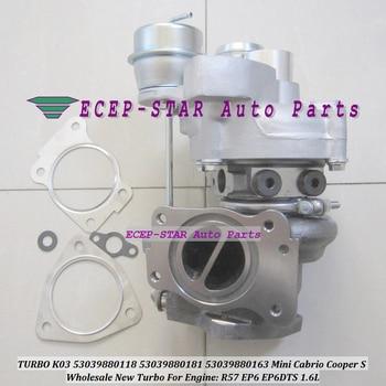 Bezpłatny statku K03 163 53039880163 53039880118 53039880181 Turbo dla Mini Cabrio Cooper S R55 R56 R57 EP6 DTS EP6DTS 1.6L nr E-zawór