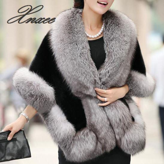 2019 Winter Leather Grass Fox Fur Mink Rabbit Fur Poncho Cape  Dress Shawl Cape Women Vest Fur Coat