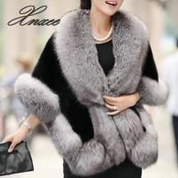 2019 Winter Leather Grass Fox Fur Mink Rabbit Fur Poncho Cape Dress Shawl Cape Women Vest Fur Coat