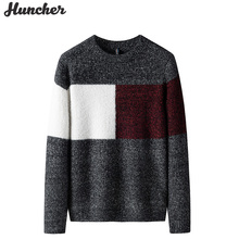 Mens Knitted Sweater Pullover Patckwork Male Winter Korean-Fashion Casual Huncher