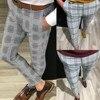 KANCOOLD Brand Pants Men Casual Elastic Long Trousers Male Cotton lattice straight gray Work Pant men's autumn Large size 107 12