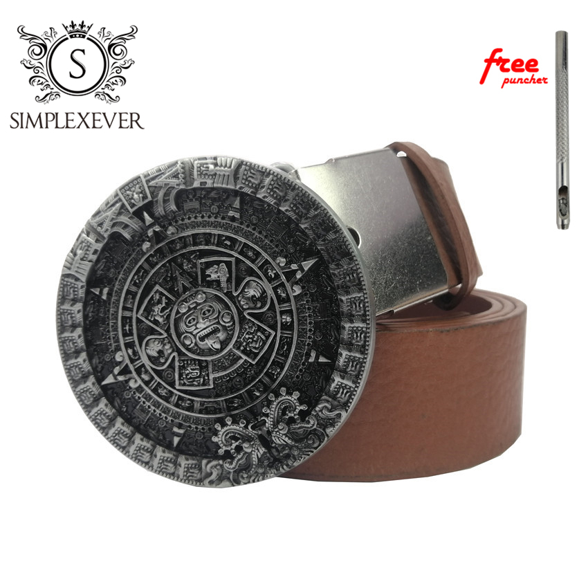 Dropshipping Aztec Calendar Circle Belt Buckle Mens Belt Buckle Head with Leather Belt Free Puncher As Gifts
