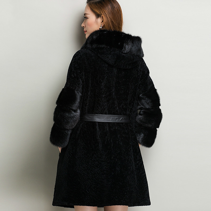 100% Natural Wool Fur Coat Women Winter With Real Mink Fur Sleeves Warm Slim Outwear Luxury YM16DP0091 MF300