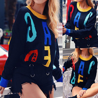 Winter Clothes Women Fashion Multicolored Letter Print Loose Round necked Long sleeved Sweater Top Sueter Mujer Invierno 2019