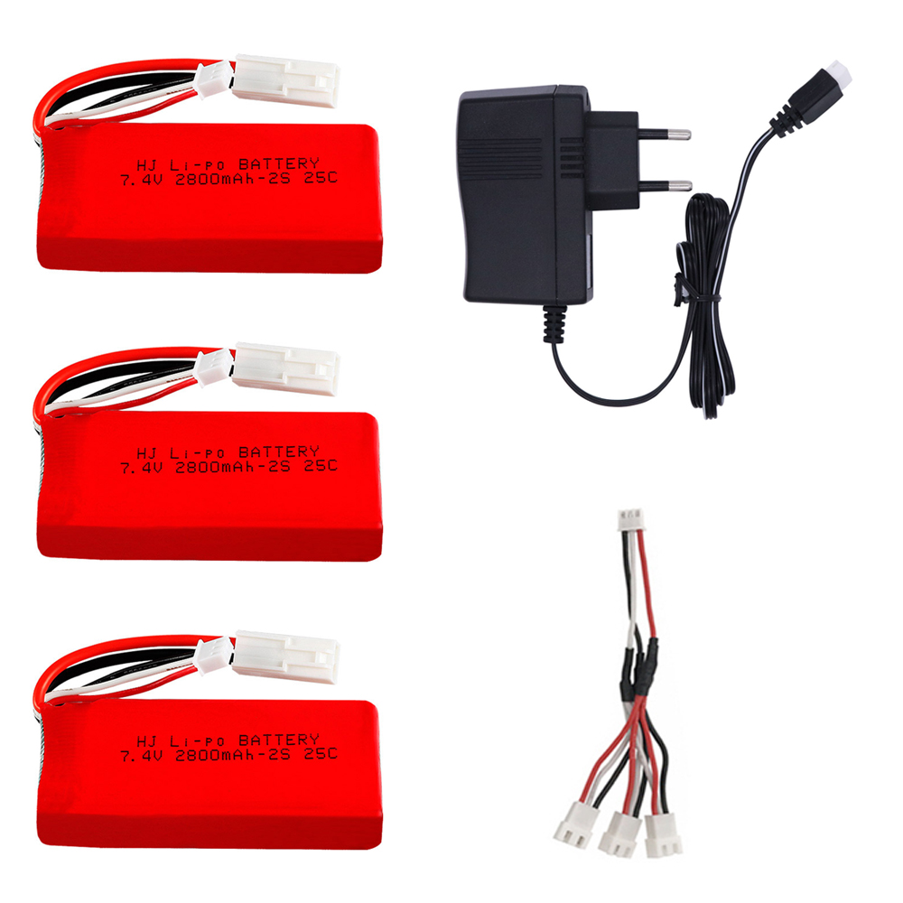 7.4V <font><b>2800mAh</b></font> Replacement <font><b>Lipo</b></font> Battery with charger cable for Feilun FT009 Remote Control toys Boat Spare accessories 7.4V <font><b>2S</b></font> 25C image