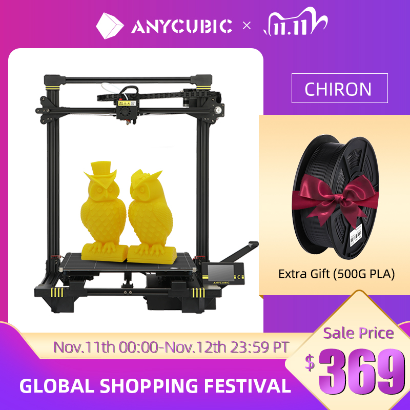 ANYCUBIC Chiron 3D Printer Large Size 400x400x450mm³ Extruder Dual Z Axis FDM 3D Printers PLA Filame