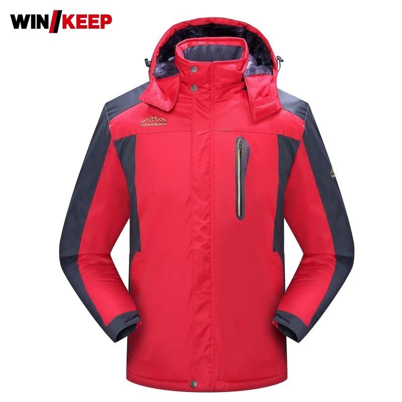 Winter Thick Fleece Jacket Waterproof Warm Outdoor Lovers Hiking Windbreaker Black Skiing Fishing Hooded Jacket Plus Size 9XL