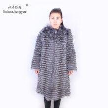 Linhaoshengyue Лисий литиевый плюс длинный 90 см длинный мех пальто с круглым вырезом, натуральный мех серебристой лисы, зимнее теплое Женское пальто