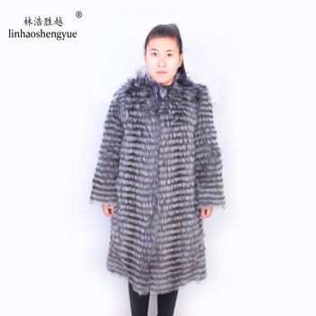Linhaoshengyue Fox lithium plus long 90cm fur coat Round neck,real  silver fox ,winter warm women
