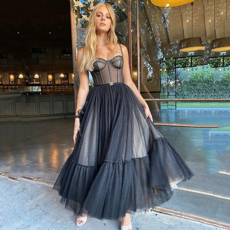2021 Black Formal Cocktail Dress Polka Dot Party Dress Mid Length Celebrity Graduation Short Club Dress vestidos en oferta