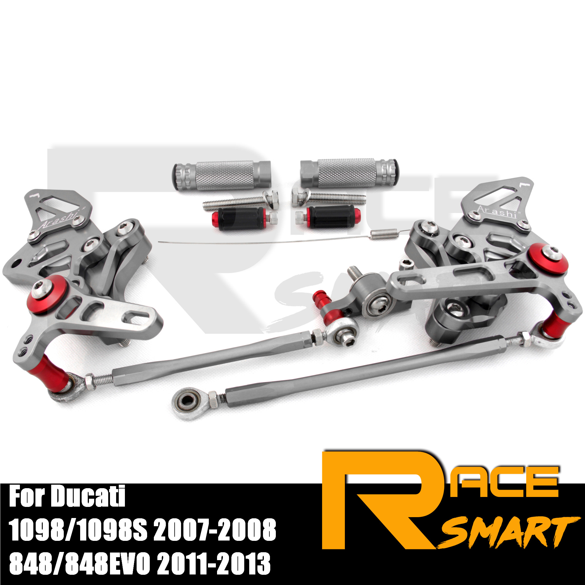 CNC Adjustable Rearset Footpegs Rear Footrests Foot Rest Pegs Pedal Motorcycle Accessories For <font><b>Ducati</b></font> <font><b>1098</b></font> 1098S 2007-2008 07 08 image