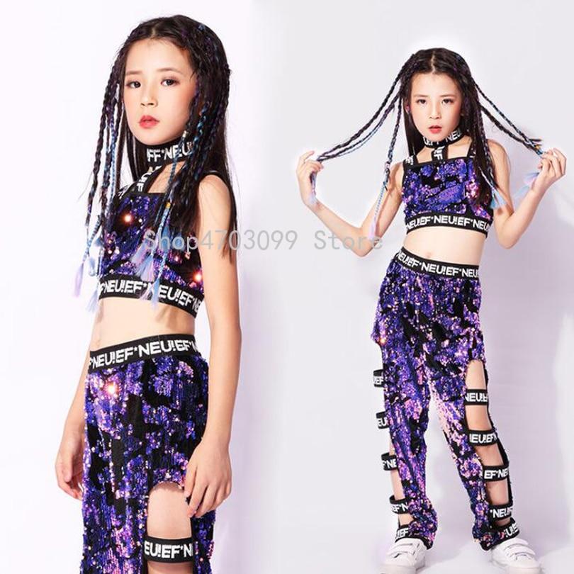 Girls Purple Sequined Jazz Modern Dancing Costumes Dress Kids Children S Hip Hop Dance Wear Costumes Set Top Pants Outfits Aliexpress