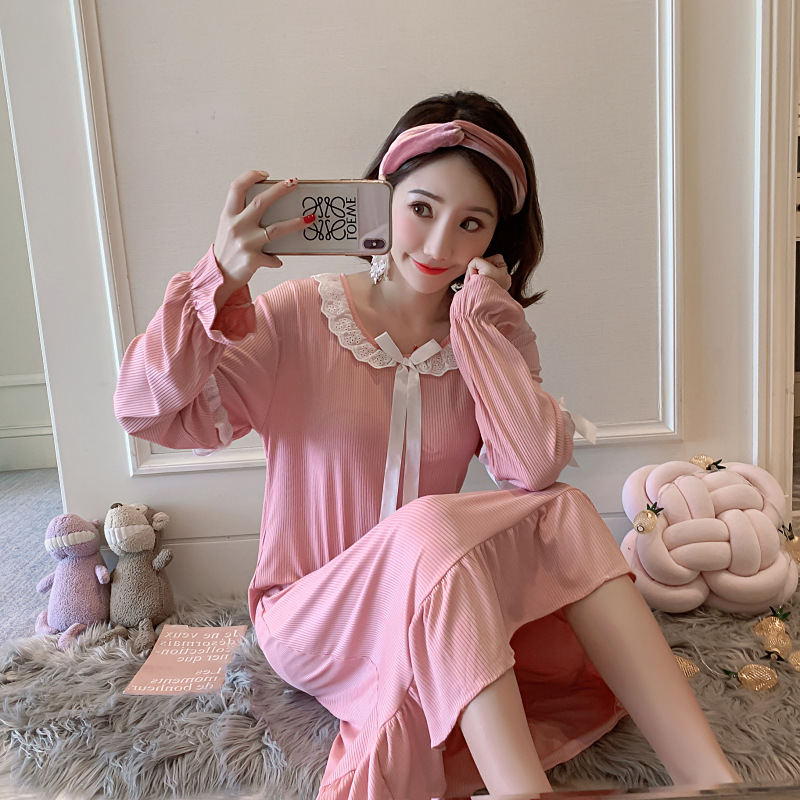 2019 New Style Long Sleeve Nightgown Sunken Stripe Solid Color Lace Princess Lace Long Skirts-Outer Wear Dress A Grant From