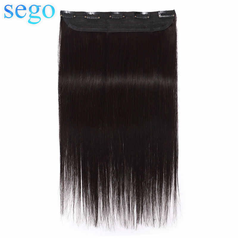 "Sego 8 ""-24"" 1 Stuk Met 5 Clips Straight Clip In Human Hair Extensions Rond Hoofd Non-Remy 100% Human Hair Extensions 40G-60G"