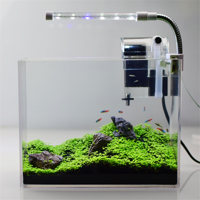 Ultra White Acrylic Fish Tank Filtre Akwarium Mini Aquarium Fish Water Plant Small Fish Bowl Plant Soil Aquarium Set