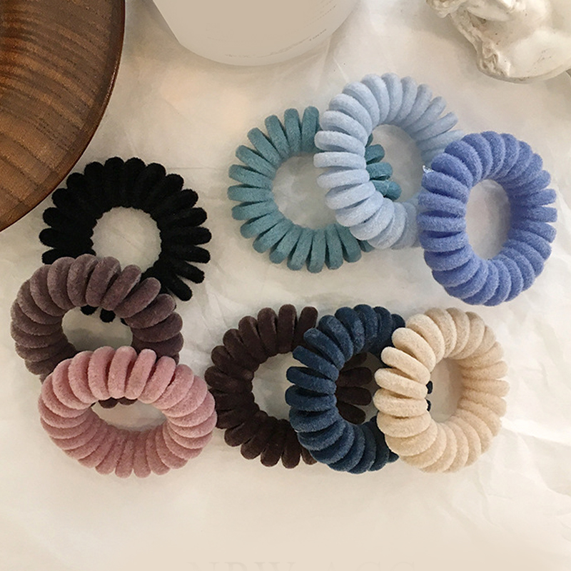 High Elasticity Telephone Coil Hairbands Women Spiral Hair Ties Girls Hair Rings Rope Solid Color Hair Accessories Gum Scrunchy