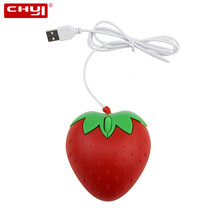 CHYI Mini Wired Cute Fruit Usb Computer Mouse Optical Strawberry Small PC Mause 3D Cartoon Lovely Gift Laptop Mice For Kid Girls(China)