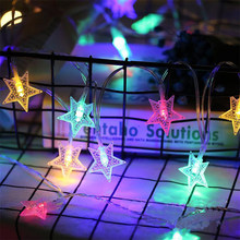 3M 6M 4.5V LED Christmas Garlands Star String Lights Outdoor/Indoor Fairy Lamp For Holiday New Year Party Decoration(China)